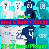 Camiseta Real Madrid Soccer Jerseys 2021 2022 Fan Player Version Kroos Modric ISCO Camavimentazione 21 22 Benzema Alaba Pericolo Camicia da calcio Uomo Kit per bambini Set uniforme