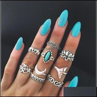 Cluster Jewelryest 9Pieces Set Joint Ring For Women Wide Index Finger Bohemian Retro Totem Carved Geometric Rings With Elephant Fishtail Dro