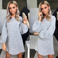 Casual Dresses 2021 Autumn Sweater Dress Women Loose Knitted Ladies Knit Female O-neck Long Sleeve Party For
