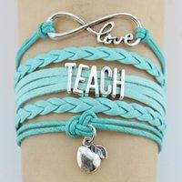 Bracelets de charme 10pc / Lot Infinity Love Enseigner enseignant Pommes Pommes Wrap MultiLayer Cuir Cadeaux personnalisés Femmes Hommes Bijoux