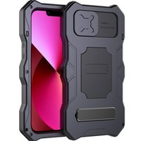 Fit iPhone 13 Cases Metal Military Sturdy Armour Shockproof Screen Protector+Kickstand+Camera slide Cover For iPhone 13 Pro max Protective Case 13 mini COver