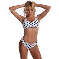 Costumi da bagno da donna Signore Summer Spalato Set, adulti Donne DOT DOT CREATIVO / Stripe Stampa Lato Hollow Tank Top Style Backless Bikini Costume da bagno Bikini