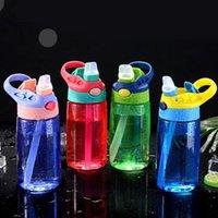 430ml Kid Water Sippy Flasche Kreative BPA Freier Plastikbaby Fütterungsbecher mit Strohhalm Leckfestes Tropfenfestflaschen Getränk Kinder Cups FWF6919