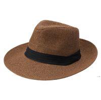 해변 밀짚 모자 파티 용품 야외 휴가 모자 패션 유니섹스 모자 여름 태양 잔디 머리 Fedora Trilby 와이드 브림 모자 HWC7411