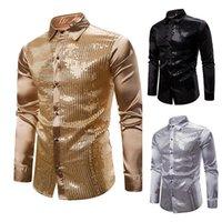 Camisas dos homens camisas do nightclub camisa de prata metálica Botão para baixo camiseta Discoteca Design brilhante do projeto da lantejoula como camisas do vestido do cetim para a festa