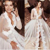 Casual Dresses 2021 Sexy Deep V-neck Women Long Dress Fashion Lace Sheer Mesh Sleeves Ladies See Through White Wedding Vestido
