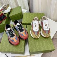 2021 Дизайнерские Обувь Rhyton Кроссовки Бежевые Мужские Тренеры Винтаж Роскошные Часы Женские Обувь Дизайнеры прокаживаются с коробкой