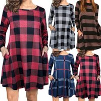 Casual Dresses Womail Autumn Dress 2021 Women Long Sleeve Plaid Stripes Printed Sundress Loose Pleated Mid-Calf Femme Party Robe