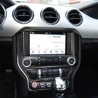 3 قطع ألياف الكربون سيارة وحدة التحكم ملصقات السيارات مركز التحكم لوحة الديكور cd تغطي ملصقات لفورد موستانج 2015-2017