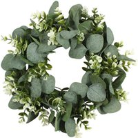 Decorative Flowers & Wreaths Christmas Wreath Artificial Green Eucalyptus Leaves Holiday Festival Door Hanging Garland Party Decoration For