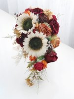Burgundy Bouquets Wedding Accesories Bridal Bouquet with Sunflowers