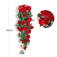 Künstliche Blume Rattan Gefälschte Blumen Rebdekoration Wandbehang Rosen Wohnkultur Zubehör Hochzeit Dekorative Flowers Kranz RRD7310