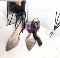 LOUBOUTIN CHRISTIAN Black Lace up Slingback Women Pumps Newest Red Bottom High heels PVC crystal bling Pointed toe Wedding Party Shoes F oBx