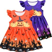 Girls Dresses Kids Clothes Children Clothing Halloween Party Dance Cosplay Costume Dress Pumpkin Skirt Pajama B8238