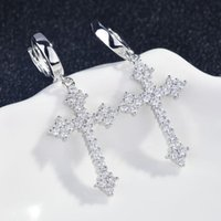 Hoop & Huggie KOFSAC Exquisite Zircon Cross Earrings For Women Party Fashion Jewelry Silver Color Ear Girl Birthday Gifts Accessories