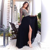 Sexy Beads Tops Long Sleeve Prom Dresses Chiffon Skirt Split Design A-line Evening Dress for Formal Occasions Custom Made