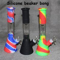 Silicone Bongo Beaker Base Hookahs Tubos de Água 14mm Feminino Durorável Boncos Silicon Downstem Downstem Tigela De Vidro