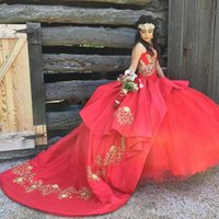 Princess Red Sweet 16 Dress 2021 Ball Gown Sweetheart Gold Appliques Quinceanera Dresses Corset Lace Up Elegant Prom Gowns Big Bow Puffy Tulle Birthday Wear