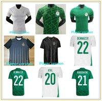 Fan Player Versione Algerie 2021 Casa Bianco Away Green Soccer Jerseys Mahrez Feghouli Bennacer Atal 20 21 Algeria Kit di calcio Camicia Uomo + Bambini Set Maillot de Piede