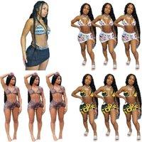 Kadın 3 Parça Mayo Bikini ile Kısa Gömlek Elbise Yüzme Suit Leopar Ayçiçeği Kelebek Spor Şort Takım Elbise Bikiniler Kıyafetler G35R274
