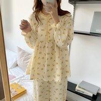 النوم الحلو الكشكشة الفتيات المطبوعة أزهار اللون ضرب الأزياء الكورية زائد النوم الدافئة لطيف الملابس المنزلية ملابس البيجامة