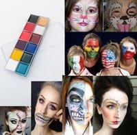 Crianças Bola Eyeshadow Dia das Bruxas Pigmento Drama Drama Maquiagem 12 Cores Corpo Pintura Impermeável Shimmer Shimmer Matte Fase Face Maquiagem Fácil de Vestir