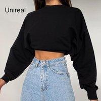 Women's Hoodies & Sweatshirts Womens Fashion Style Pullover Unireal 2021 Autumn Women Cropped Sweatshirt Short Black Tops Streetwear