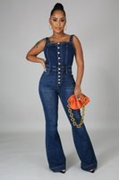 Women's Jumpsuits & Rompers Plus Sizes Casual Jeans Suspenders Sexy Women Blue Elegant Denim Flare Jumpsuit