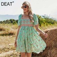 [DEAT] Summer Fashion Square Collar High Waist Short Sleeve Printing Loose Temperament Mini Dress Women 13C597 210527