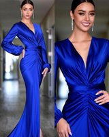 우아한 로얄 블루 이브닝 드레스 2021 깊은 V 목 긴 소매 인어 아랍어 유명인 댄스 파티 드레스 여성용 파티 가운 드 Soirée Mariage