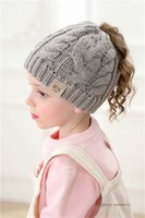 INS Kids knitting horsetail hollow hat girls twist knitted outdoor caps autumn winter children Empty head warm beanie A7911