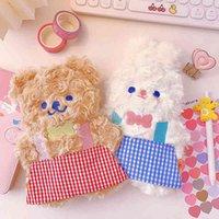 Pencil Korean creative cute bear cartoon Rabbit Plush case female animation primary school stationery storage bag case