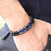 2pcs set 2021 Trendy Mens Bracelet 6mm Onyx Tiger eyes Stone Braslet Beads Disco Ball Strand Braclet Gift For Him Accessories