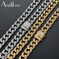 Chains 12mm High-Quality Iced Out Cubic Zircon Miami Cuban Link Chain Necklace For Men Women Hip Hop Jewelry