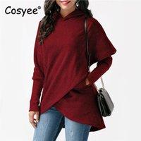 Women's Hoodies & Sweatshirts Cosyee Women Irregular Solid Fashion Hooded Sweatshirt Full Sleeve Pocket Pullover Hoody Female Winter Casual
