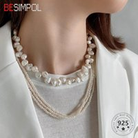 Besimpol Real 925 Sterling Silver Necklace French Style Lucury Irregular Baroque Pearl For Women Fashion Jewelry Gifts Chains