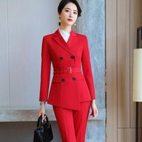 Fashion Business Red Pants Suits Women Temperament Double Breasted Long Sleeve Jacket And Office Ladies Formal Work Wear Women's & Blazers