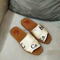 Zapatos de mujer de alta calidad FLAT SHIBPER SHOPS DESIGNER TIENDIENTES LADRILLAS Tela de letras al aire libre Suela de diapositiva Sandalia Sandalia Shunxin2014888