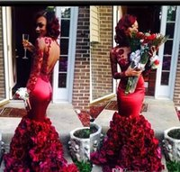 Dark Red Mermaid Prom Dresses 2021 O-Neck Evening Gowns with Long Sleeves Appliques Backless Evening Dresses with Artificial Flowers