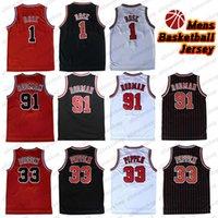 Hommes 1 Derrick Rose 91 Dennis Rodman Sport Sport Sport Jersey Basketball Pas cher Sportswear 33 Scottie Pippen Jerseys Taille S-2XL