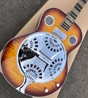 In stock Korean tuning double guitar, sunburst pattern, super water ripple, steel resonator metal mini string guitar