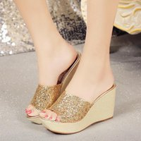 Sandals Women Wedges Shoes Pumps High Heels Summer 2021 Fashion Bling Slippers Femme Platform Sandalia Feminina Dress