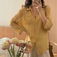 Blouses Femmes Shirts Summer Solid Coréen 2021 Vintage Casual Cardigans Cardigans Bureau Dame Sweet Girls Tops Jena