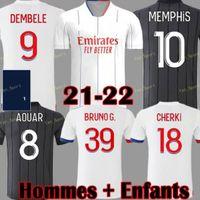 20 21 22 Maillot Lyon 2021 2022 올림픽 Lyonnais 축구 유니폼 OL 축구 셔츠 Traore Memphis 남자 키트 장비 Bruno G 탑스