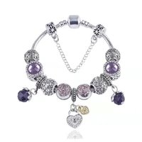 17-21CM Bracelets purple crystal charm beads heart pendant fit snake chain bangle charms bracelet DIY Accessories Jewelry for women kids christmas gift