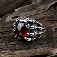Cluster Rings Vintage Dragon Claw For Men Women Teenagers Cool Punk Crystal Gem Fashion Party Jewelry Nightclubs Bars Gifts