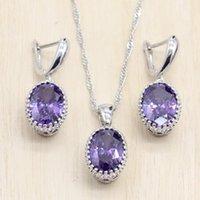 Earrings & Necklace Silver Color Jewelry Sets Purple Light Blue Cubic Zircon Earrings Pendant Necklace J