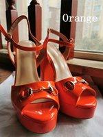 디자이너 샌들 패션 금속 버클 chunky 발 뒤꿈치 랩 여성 하이힐 샌들 특허 가죽 세련된 파티 신발 34-45