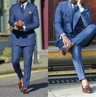 Men's Suits & Blazers Latest Double Breasted Wedding Men Suit Blue Set Custom Slim Fit Man Groom Dress Tuxedo Prom Dinner Blazer Vest Pants