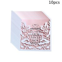 Greeting Cards 10pcs lot Lace Pocket Wedding Invitations Square Laser Cut Rose Flower Card Event Party Supplies